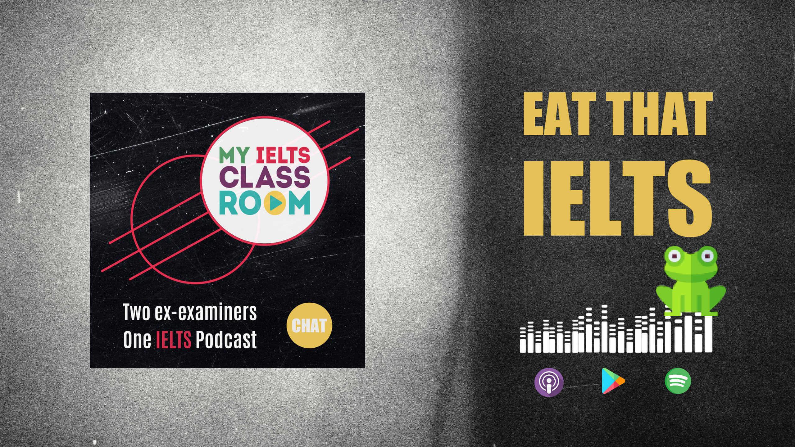 The words Eat that Frog sit to the podcast cover art to signify the IELTS procrastination techniques