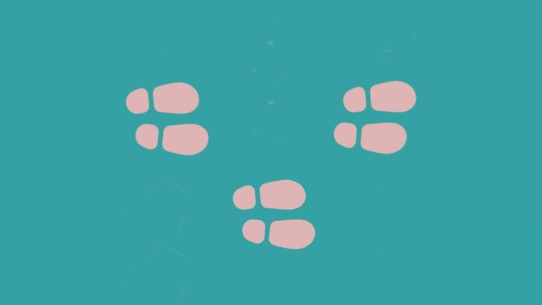 3 sets of pink footsteps sit on a blue background to signify steps to IELTS success