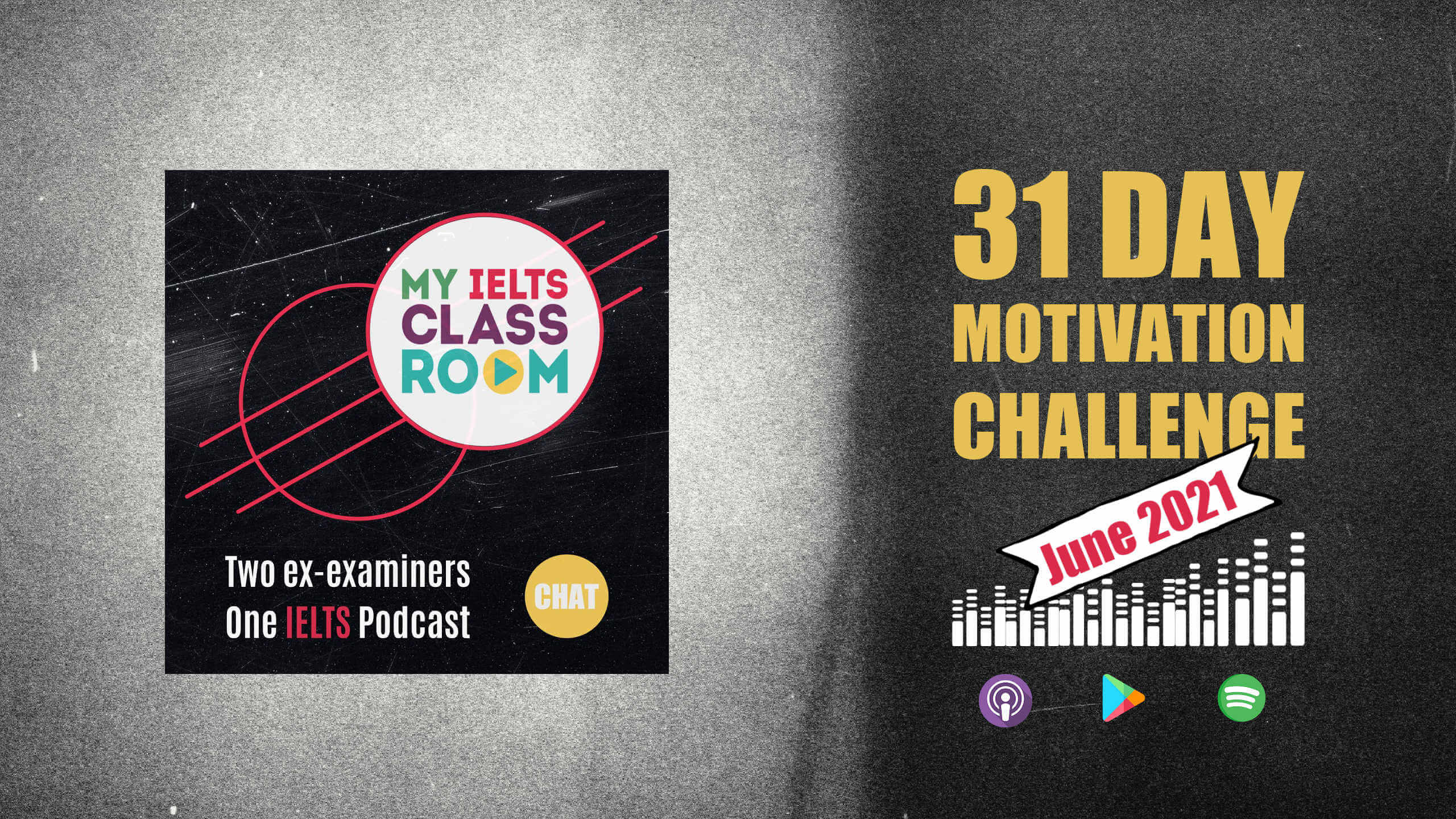 """The words """"IELTS Motivation Challenge"""" sit next to the podcast logo"""