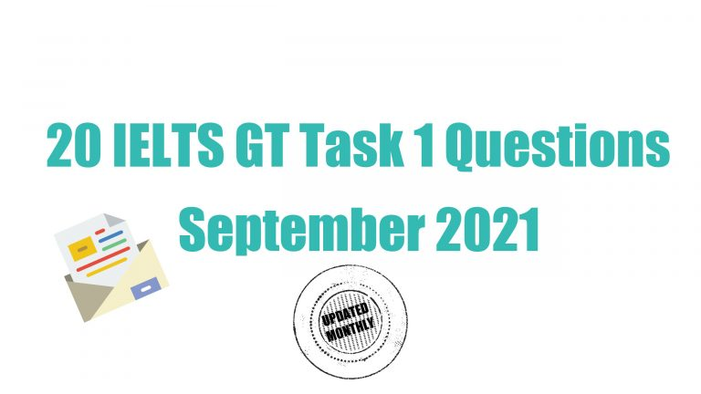 Recent IELTS General Training Task 1 Questions